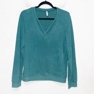 Z Supply Teal Soft Spun Knit Cross Front Pullover